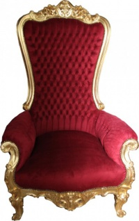 Casa Padrino Barock Thron Sessel Majestic Bordeaux/Gold - Riesensessel - Thron Stuhl Tron