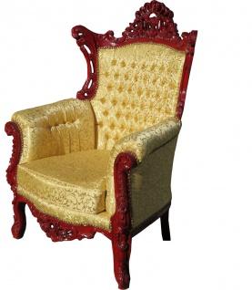 Casa Padrino Barock Sessel Al Capone Gold Muster / Braunrot - Antik Stil Wohnzimmer Möbel - Limited Edition - Vorschau 2