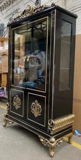 Casa Padrino Luxus Barock Vitrine Schwarz / Gold - Prunkvoller Barock Vitrinenschrank mit 2 Glastüren - Edle Barock Möbel
