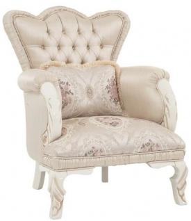Casa Padrino Luxus Barock Sessel Beige / Creme / Rosa 77 x 72 x H. 104 cm - Wohnzimmer Sessel mit dekorativem Kissen - Wohnzimmermöbel im Barockstil