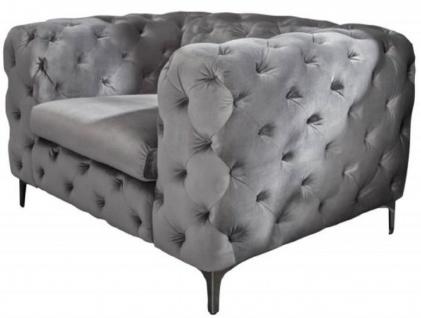 Casa Padrino Chesterfield Wohnzimmer Samt Sessel Grau / Silber 120 x 100 x H. 70 cm - Chesterfield Wohnzimmer Möbel