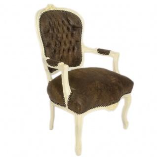 Casa Padrino Barock Salon Stuhl Braun Lederoptik / Creme 60 x 50 x H. 93 cm - Möbel im Antik Stil