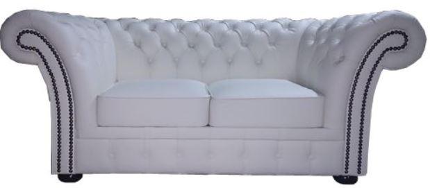 Casa Padrino Chesterfield Echtleder 2er Sofa Weiß 170 x 90 x H. 80 cm - Luxus Kollektion - Vorschau