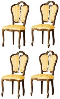 Casa Padrino Luxus Barock Esszimmer Set Braun / Weiß / Gold 48 x 43 x H. 104, 5 cm - 4 Esszimmerstühle - Barock Esszimmermöbel - Vorschau 1