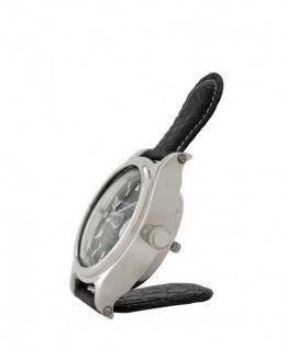 Casa Padrino Designer Luxus Uhr Nickel finish mit schwarzem Leder 10 x H. 16 cm - Luxus Kollektion - Vorschau 2