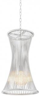 Casa Padrino Luxus Hängeleuchte Silber Ø 35 x H. 61, 5 cm - Runde Metall Hängelampe - Wohnzimmer Lampe