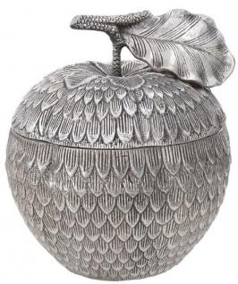Casa Padrino Luxus Aufbewahrungsbox mit Deckel in Apfelform Antik Silber Ø 18 x H. 20 cm - Deko Accessoires