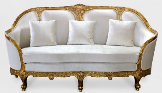 Casa Padrino Luxus Barock Wohnzimmer Sofa Weiß / Gold - Edles Handgefertigtes Antik Stil Sofa - Barock Wohnzimmer Möbel