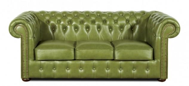 Casa Padrino Echtleder 3er Sofa Grün 200 x 90 x H. 78 cm - Luxus Chesterfield Möbel