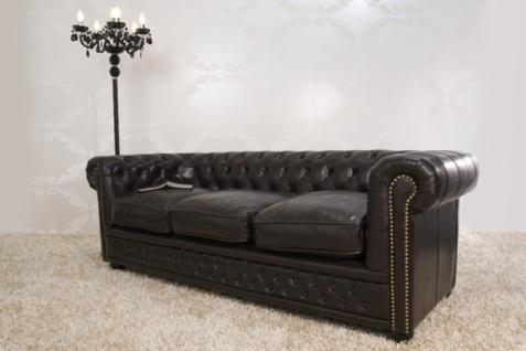 Chesterfield 3er Sofa Dunkelbraun aus dem Hause Casa Padrino - Couch Braun - Vorschau 2