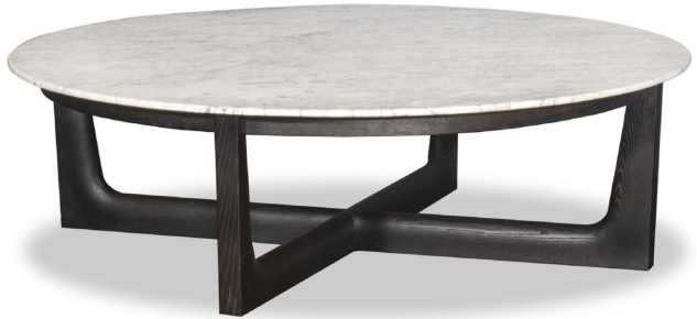 Casa Padrino Luxus Couchtisch Weiß / Schwarz Ø 120 x H. 35 cm - Runder Massivholz Wohnzimmertisch mit Marmorplatte - Luxus Wohnzimmer Möbel