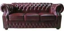 Casa Padrino Luxus Echtleder 3er Sofa Dunkelrot 210 x 90 x H. 80 cm - Chesterfield Sofa