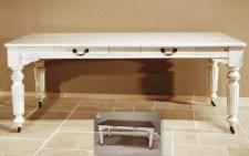 Casa Padrino Vintage Pinien Esstisch Antik Stil Weiß Rustikal Massiv mit Schubladen - Landhaus Stil Tisch Pinienholz