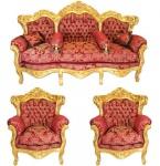 Casa Padrino Barock Wohnzimmer Set Bordeaux Muster / Gold - 3er Sofa + 2 Sessel
