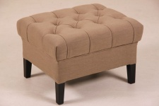 Casa Padrino Designer Sitzhocker Chesterfield Khaki Rechteckig 60 x 50 cm Sitzhöhe 42cm