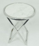 Casa Padrino Luxus Beistelltisch Silber / Weiß Ø 46 x H. 54 cm - Runder Edelstahl Tisch mit Marmorplatte