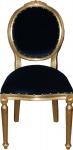Casa Padrino Barock Medaillon Luxus Esszimmer Stuhl ohne Armlehnen in Royalblau / Gold - Limited Edition