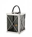 Casa Padrino Designer Deco Laterne Nickel Finish 30 x 30 x H. 45 cm - Luxus Hotel Restaurant Laterne