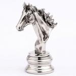 Casa Padrino Figur Pferd auf Sockel Aluminium vernickelt 15.5 x 10 x H23 cm - Edel & Prunkvoll