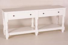 Casa Padrino Landhaus Stil Konsolen Tisch mit 4 Schubladen weiß 180 cm ModS4- Shabby Chic Möbel Wand Konsole