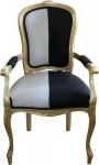 Casa Padrino Barock Esszimmer Stuhl mit Armlehnen Schwarz / Weiss / Gold - Designer Stuhl - Luxus Qualität