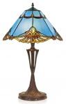 Casa Padrino Tiffany Tischleuchte Blau / Mehrfarbig Ø 40 x H. 60 cm - Handgefertigte Tischlampe