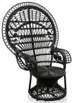 Casa Padrino Luxus Rattan Sessel Schwarz 114 x 80 x H. 150 cm - Vintage Möbel