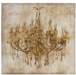 Casa Padrino Barock Ölgemälde Kronleuchter Mehrfarbig 80 x H. 80 cm - Prachtvolles Ölbild