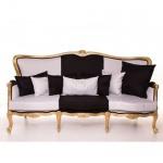 Casa Padrino Luxus Barock Sofa Schwarz / Weiß / Gold 210 cm - Sitzbank Möbel - Luxury Hotel Collection