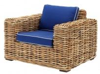 Casa Padrino Designer Rattan Sessel 100 x 88 x H. 69 cm - Luxus Wohnzimmer Möbel