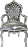 Barock Esszimmerstuhl Silber / Silber mit Armlehne Stuhl