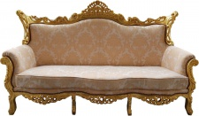 Casa Padrino Barock 3er Sofa Creme Muster / Gold - Wohnzimmer Möbel Couch Lounge