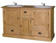 Casa Padrino Landhaus Stil Waschschrank Waschtisch inkl 2 Waschbecken mit vielen Fächern - Bad Schrank Massivholz