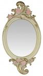 Casa Padrino Jugendstil Polyresin Wandspiegel Rosen Creme / Gold 25, 4 x H. 48, 1 cm - Barock & Jugendstil Möbel