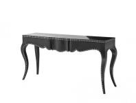 Casa Padrino Luxus Mahagoni Konsole Schwarz 163 x 46, 5 x H. 83 cm - Luxus Qualität