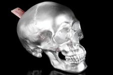 Designer Spardose Skull silber Höhe 14 cm, Breite 14 cm, Tiefe 20 cm, Totenkopf - edle Skulptur aus Polyresin