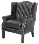 Luxus Echtleder Chesterfield Ohrensessel Vintage Schwarz 72 x 65 x H. 103 cm - Hotel Möbel - Echt Leder Ohren Sessel