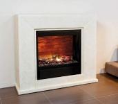 Casa Padrino Luxus Kamin mit LED Kamineinsatz Cremeweiß 119, 5 x 33, 5 x H. 101, 5 cm - Luxus Elektrokamin mit Fernbedienung