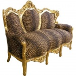Casa Padrino Barock Sofa Leopard/Gold - Möbel Antik Stil Barock Tiger Leo Couch