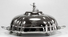 Casa Padrino Messing Serviertablett Silber 43, 5 x 31, 5 x H. 25 cm - Luxus Tablett mit Deckel