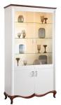 Casa Padrino Luxus Art Deco Vitrinenschrank Weiß / Dunkelbraun 114 x 46, 5 x H. 209, 5 cm - Beleuchteter Wohnzimmerschrank mit 4 Türen - Wohnzimmermöbel