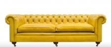 Casa Padrino Luxus Chesterfield 2er Sofa Gelb 242 x 100 x H. 71 cm - Luxus Leder Möbel