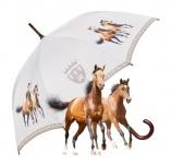 "MySchirm Designer Regenschirm "" Braune Pferde"" - Eleganter Stockschirm - Luxus Design - Automatikschirm"