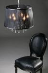 Barock Pendelleuchte mit Kristall-Deco, 5-Flammig, Schwarz, Leuchte Lampe
