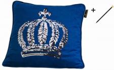 Harald Glööckler Designer Zierkissen 50 x 50 cm Krone mit Pailletten Royalblau/Silber + Casa Padrino Luxus Barock Bleistift mit Kronendesign
