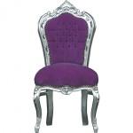 Casa Padrino Barock Esszimmer Stuhl Lila/Silber - Möbel