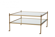 Casa Padrino Luxus Art Deco Designer Couchtisch Messing - Wohnzimmer Salon Tisch - Luxus Qualität
