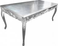Casa Padrino Barock Esstisch Silber 200 x 99 cm Mod2 - Esszimmer Tisch - Möbel Antik Stil