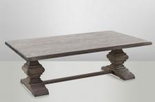 Casa Padrino Landhaus Couchtisch Eiche Rustic Grey 140 x 80 cm- Barock Stil Salon Wohnzimmer Tisch Eiche Massiv