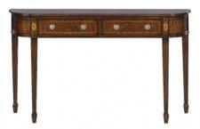 Casa Padrino Luxus Jugendstil Mahagoni Konsole Braun 130 x 30 x H. 78 cm - Konsolentisch mit 2 Schubladen im französichen Jugendstil